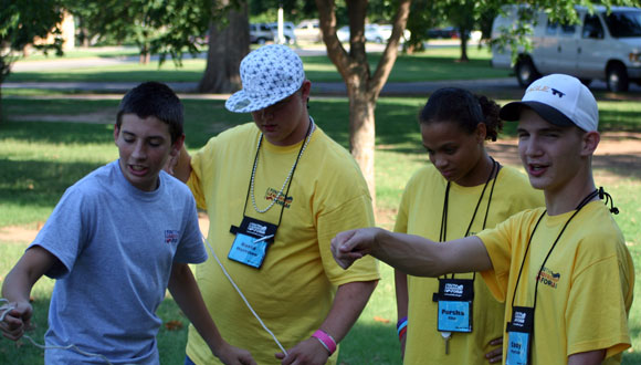 Oklahoma group participating in a team building activity called Toxic Waste